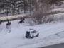 В Усть-Каменогорске полицейская погоня за всадниками попала на видео